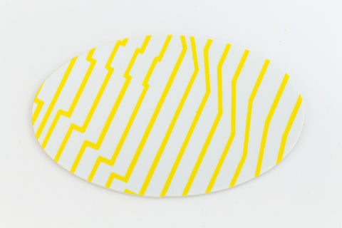 38mm x 62mm White and Yellow Op- Art Oval #UP419