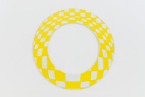 65mm White and Yellow Op- Art Open Circle #UP420