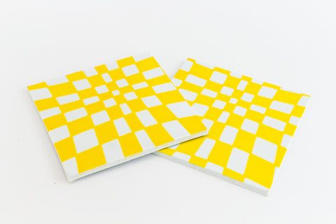 38mm White and Yellow Op- Art Square #UP421