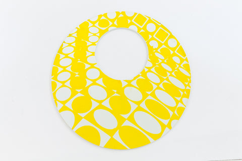 75mm White and Yellow Op- Art Hoop #UP422