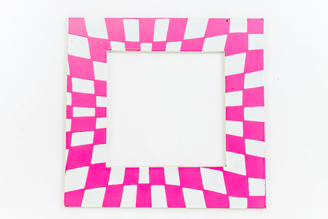 64mm White and Pink Op- Art Open Square #UP424