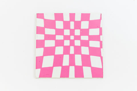 38mm White and Pink Op- Art Square #UP425