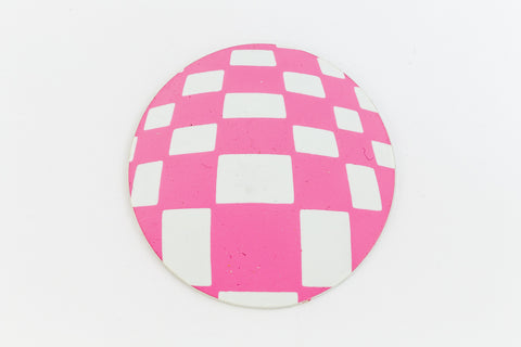 41mm White and Pink Op- Art Circle #UP428