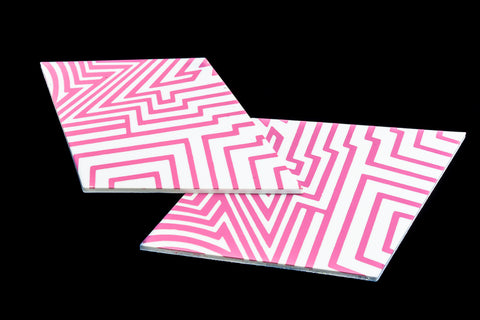 40mm x 60mm White and Pink Op- Art Diamond #UP429