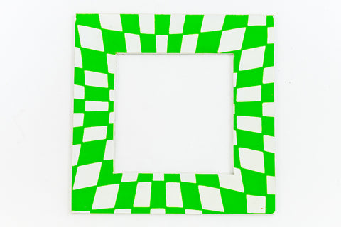 64mm White and Green Op- Art Open Square #UP430