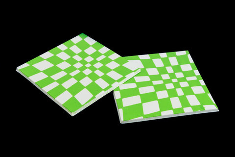 38mm White and Green Op- Art Square #UP431