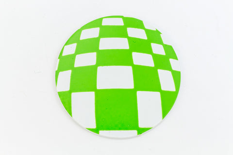 41mm White and Green Op- Art Circle #UP434