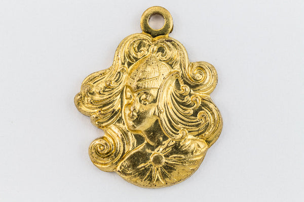 18mm Raw Brass Maiden with Flowing Hair Charm (2 Pcs) #136A