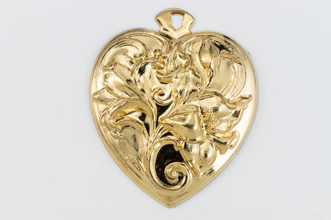 45mm Gold Lily Heart Charm #1588A-General Bead
