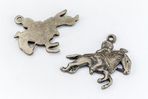 16mm Antique Silver Galloping Horse with Rider Charm (2 Pcs) #160A