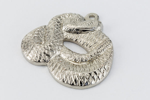 15mm Silver Coiled Snake Charm #216A