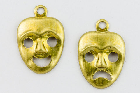 10mm Brass Mask Charm (2 Pcs) #2461A-General Bead