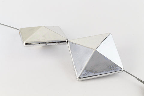 "25mm Silver ""Pyramid"" Bead with Diagonal Hole (2 Pcs) #WMS025-General Bead"