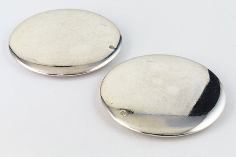 35mm Silver Disc Drop (2 Pcs) #WMS026-General Bead