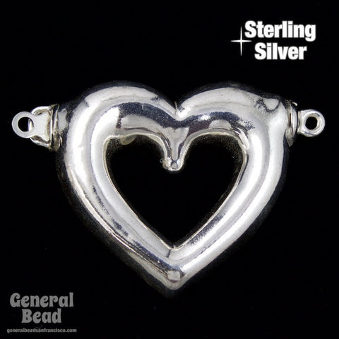 24mm Sterling Silver Open Heart Clasp-General Bead