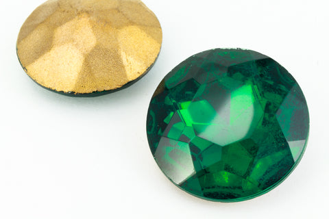 2 pcs 18mm Round Chaton Crystal Glass Fancy Stone Cabochons Pointed Back Emerald