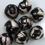 18mm Handmade Black/Silver Foil Bead #XJH001-General Bead