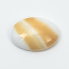 13mm x 18mm White Oval Cabochon with Beige Stripe #XS106-A