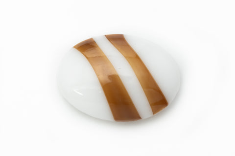 13mm x 18mm White Oval Cabochon with Brown Stripe #XS106-C