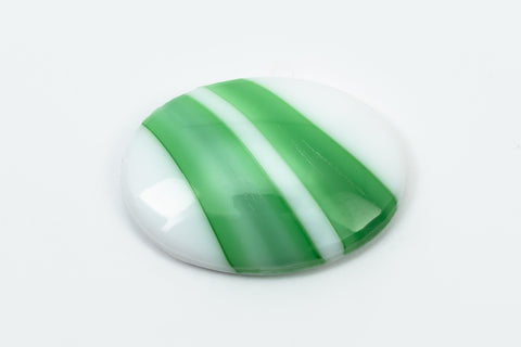 18mm x 25mm White Oval Cabochon with Green Stripe #XS106-F