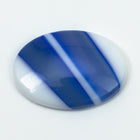 18mm x 25mm White Oval Cabochon with Blue Stripe #XS106-G