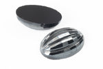 10mm x 14mm Gunmetal Ribbed Oval Cabochon #XS127-A