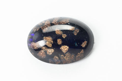 13mm x 18mm Cobalt and Gold Oval Cabochon #XS132-D