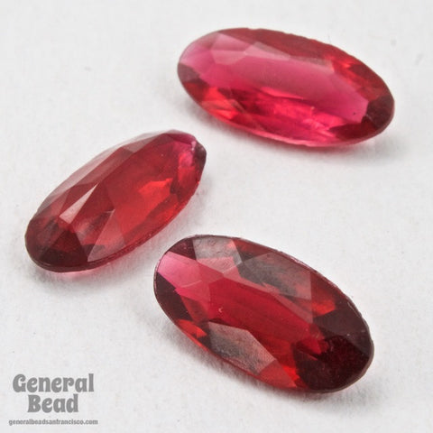 12mm Transparent Fuchsia Faceted Oval Doublet