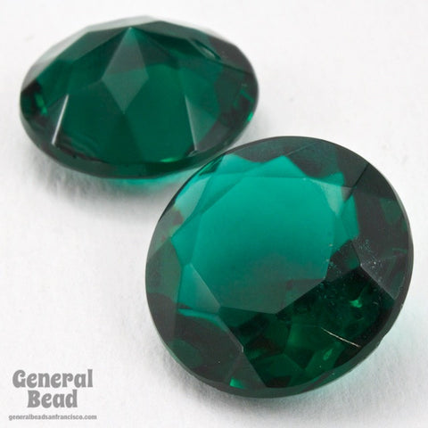 20mm Transparent Emerald Round Faceted Cabochon