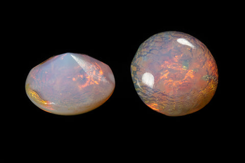11mm Opal Pink Round Foil Point Back Cabochon #XS185-G