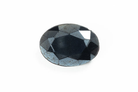 10mm x 14mm Hematite Faceted Oval Doublet #XS188-F