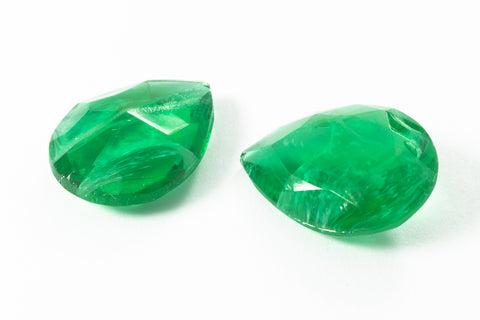 13mm x 18mm Unfoiled Emerald Faceted Teardrop Point Back #XS189-B