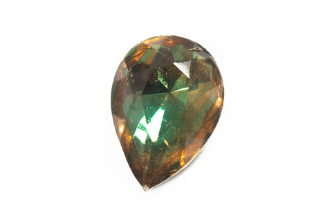 10mm x 14mm Topaz/Green Faceted Teardrop Point Back #XS189-D