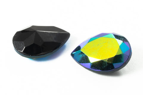 13mm x 18mm Jet AB Faceted Teardrop Point Back #XS189-E