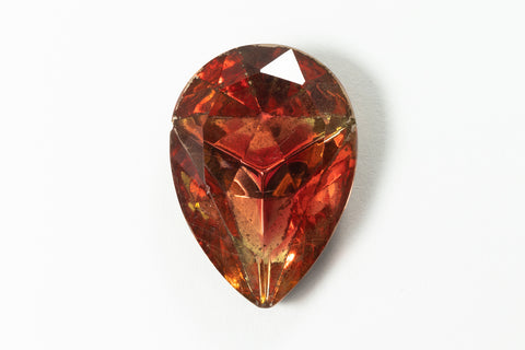 18mm x 25mm Peach/Topaz Faceted Teardrop Point Back #XS189-F