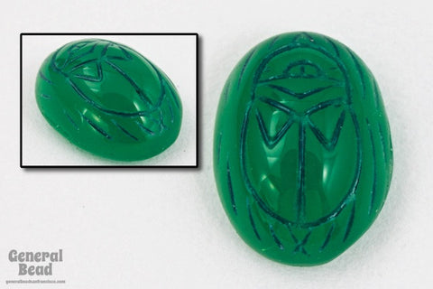 4mm x 6mm Dark Green/Black Scarab Cabochon