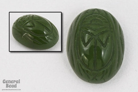 4mm x 6mm Olive Green Scarab Cabochon #XS78-C-General Bead