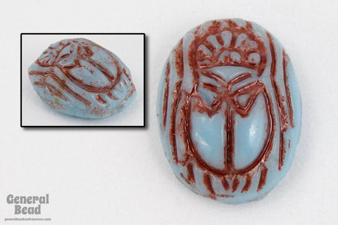 4mm x 6mm Turquoise/Brown Scarab Cabochon