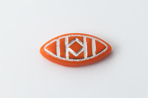 7mm x 15mm Orange/Silver Navette Cabochon #XS97-A-2