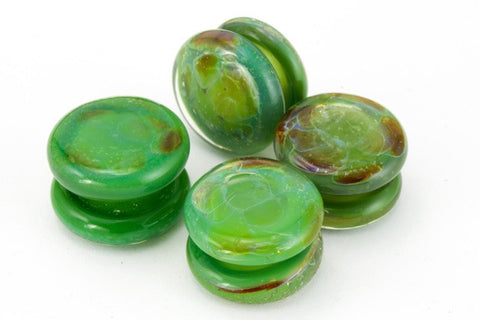 10mm Opaque Marbled Leaf Green Yoyo Bead #YOYO8