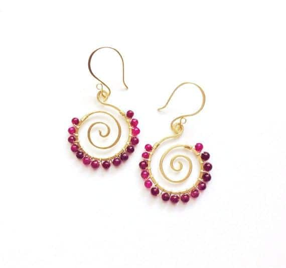 Dark pink agate gemstones wire wrapped on 14k gold filled handmade spiral earrings - Dancing Moon