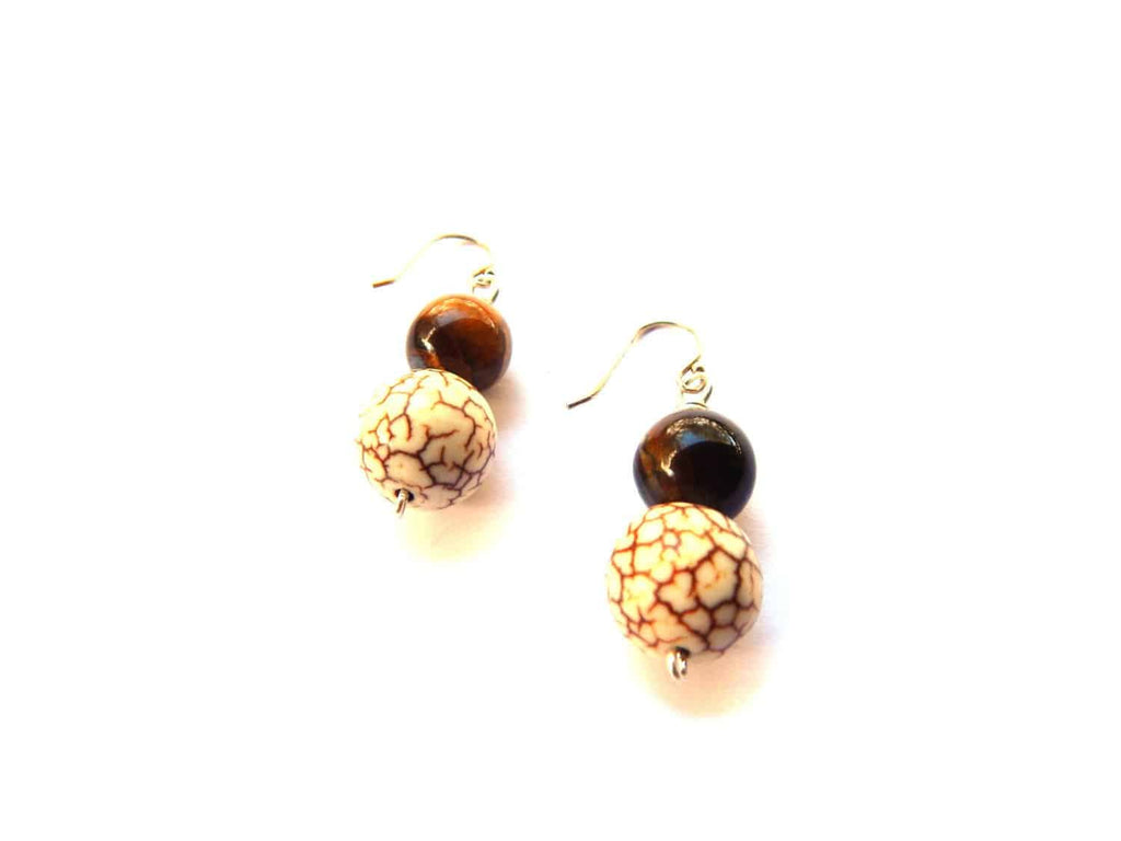 Simple Drop Earrings with white turquoise and tigers eye gemstones - Dancing Moon
