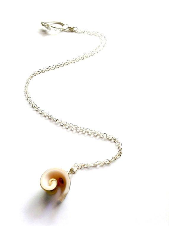 Spiral Shell Beach necklace handmade with sterling silver - Dancing Moon