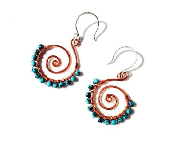 Turquoise spiral wire wrapped and hand formed with copper and sterling silver ear wires - Dancing Moon