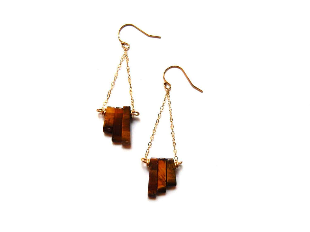 Tigers eye and gold filled chain handmade earrings - Dancing Moon