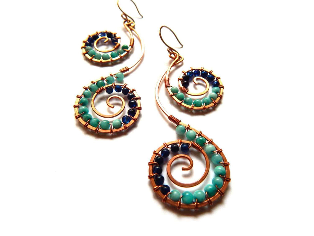 Double Spiral copper earrings wire wrapped with amazonite and lapis lazuli - Dancing Moon