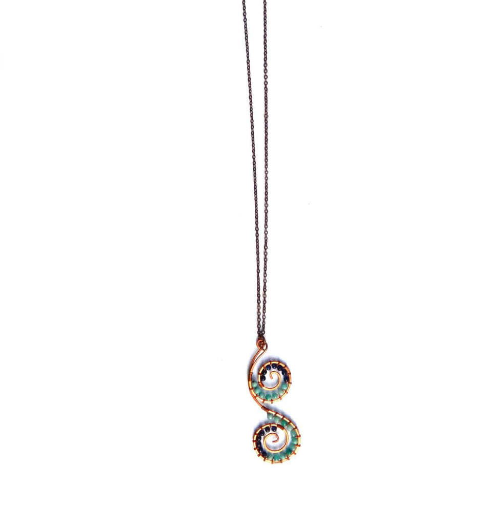 Double Spiral Necklace with Copper and blue gemstones - Dancing Moon