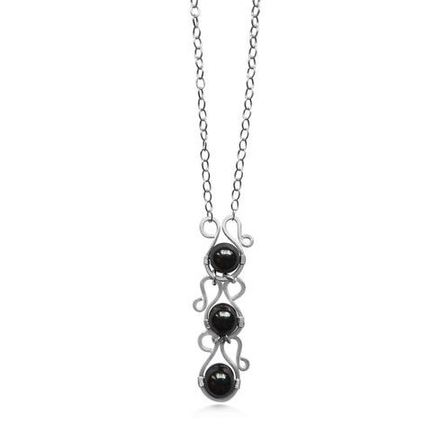 Neptune Rising Necklace, hematite and sterling silver, long bohemian necklace - Dancing Moon