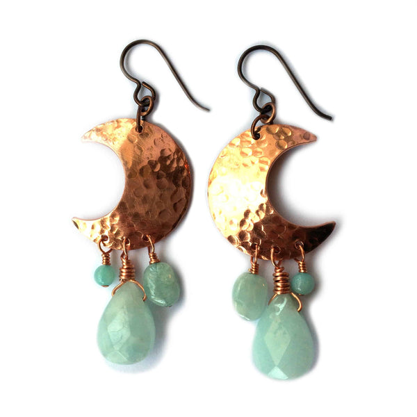 Crescent Moon chime earrings, copper, amazonite gemstones - Dancing Moon