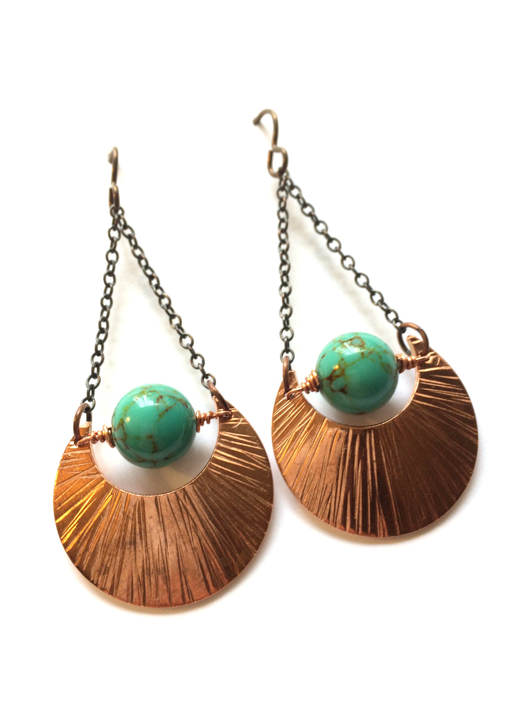 Blue Moon Copper and Gemstone Earrings - Dancing Moon